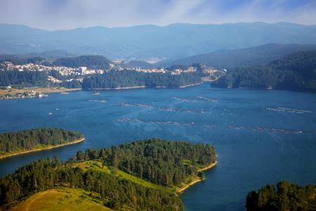 high mountain bulgarian lake near town of Dospat, Rhodope mountains Stock Photo