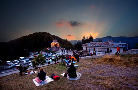 CROSS FOREST, BULGARIA - September 13, 2016 - Bulgarian orthodox pilgrims go to monastery of Cross Forest in Rhodope mountaisn in the night of 13 September every year to be healed