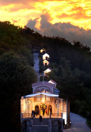 CHROSS FOREST, BULGARIA - September 13, 2016 - Bulgarian orthodox pilgrims go to monastery of Chross Forest in Rhodope mountaisn in the night of 13 September every year to be healed when they touch holly chross there