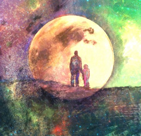 two child: moon and two silhouette of man and child, fairy abstract painting, mixed media Stock Photo
