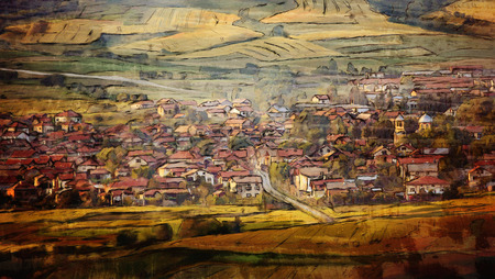 watercolor abstract painting of small village in sunset, warm colors
