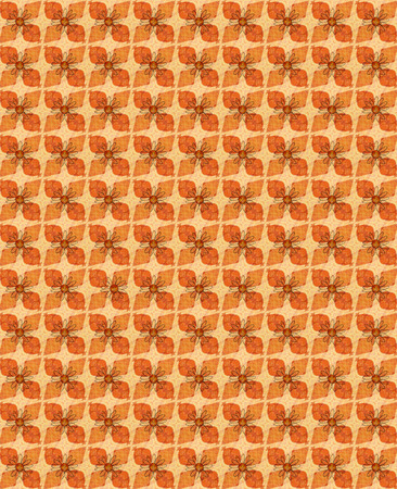 seamless textured vintage background with daisy flowers and orange ellements