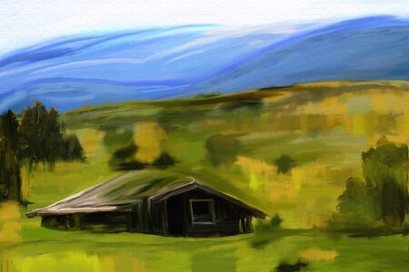 sumer: green sumer or spring field and wooden house abstract watercolor painting, digital artwork oil canvas
