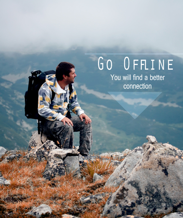 motivational unknown quote with man in nature, offline is new luxury, concept for be relaxed without technology
