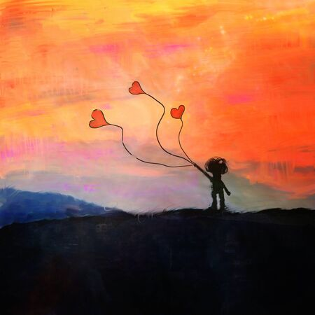 silhouette of child and balons in heart shape, fairy abstract painting, mixed media- elements of this image are furnished by NASA
