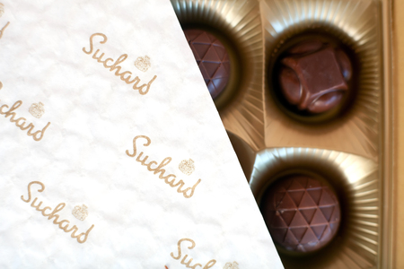 hershey's: DORKOVO, BULGARIA - MARCH 20, 2017: Suchard candy close-up top view. Suchard candy is brand of Mondelez International Editorial