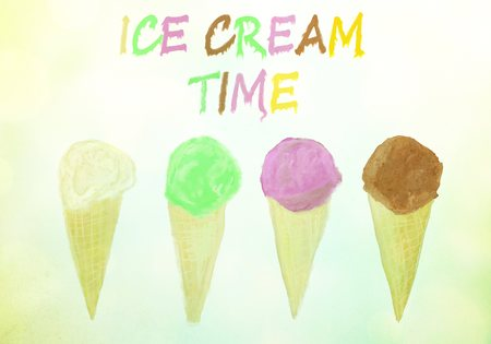 ice cream time vintage summer background with text added, icecream watercolor background