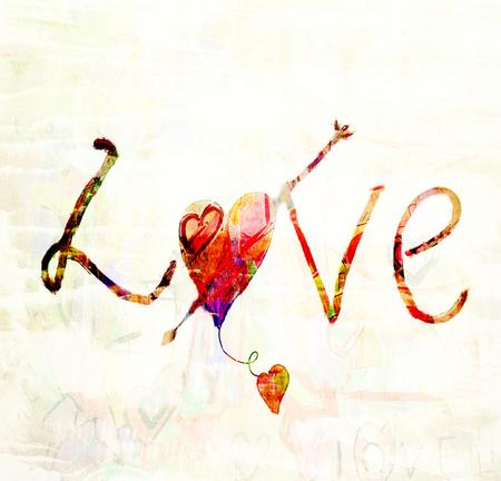 Love hand draw text, grunge love background