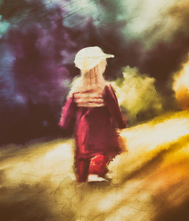 child walking trough the forest, abstract art background