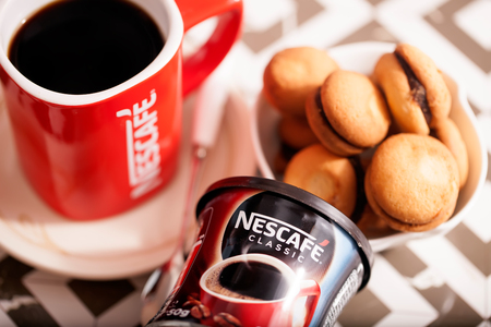 DORKOVO, BULGARIA - DECEMBER 03, 2017: Nescafe Gold Blend instant coffee and bisquits Editorial