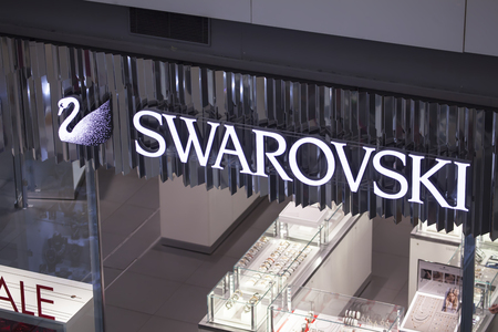 PLOVDIV, BULGARIA - JANUARY 12, 2018:Shopping center in town of Plovdiv. Swarowski boutique inside. Editorial