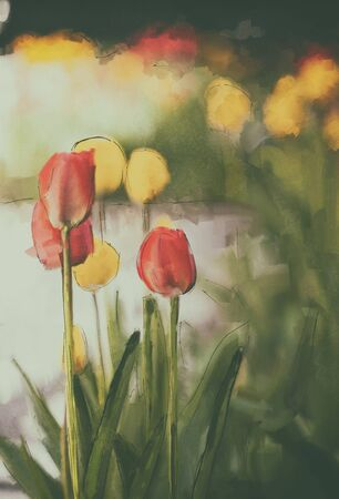 Red tulip watercolor art painting, textured vintage background
