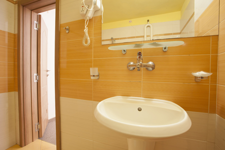 Toilet cabin in bathroom interior casual style in the hotel Stock Photo