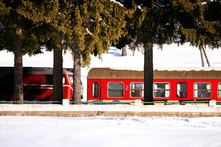 Bulgaria: trains in transit along the line during a snowy day.
