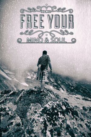 """Abstract Background with the inspiring Typographical quote """"You must free your mind and soul"""", quote wallpaper Imagens"""