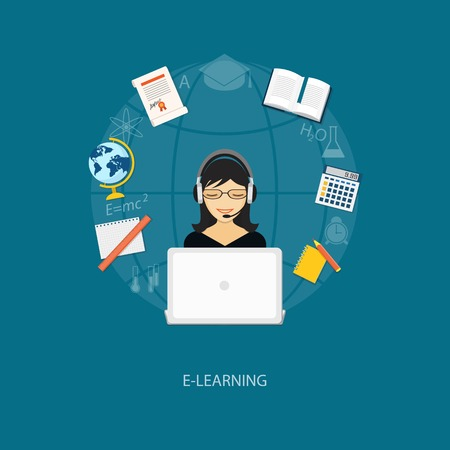 tutorials: Flat design modern vector illustration concept of education, tutorials, learning with girl, globe, book and laptop - eps10 Illustration