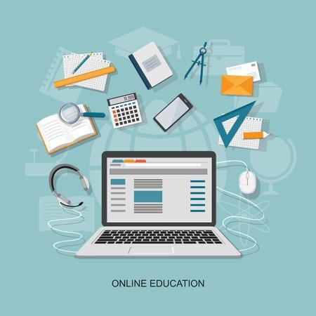 Flat design modern vector illustration concept of online education - eps10 Stock Vector - 43371912