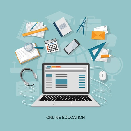 Flat design modern vector illustration concept of online education - eps10