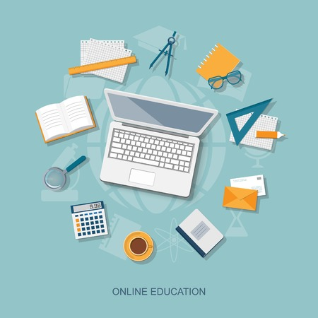 education icon: Flat design modern vector illustration concept of online education - eps10