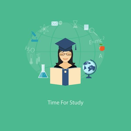 tutoriels: Flat design modern vector illustration concept of education, tutorials, learning with girl, globe  and book - eps10
