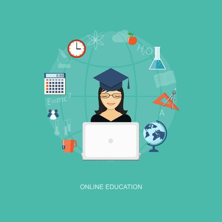 girl with laptop: Flat design modern vector illustration concept of education, tutorials, learning with girl, globe  and laptop - eps10 Illustration