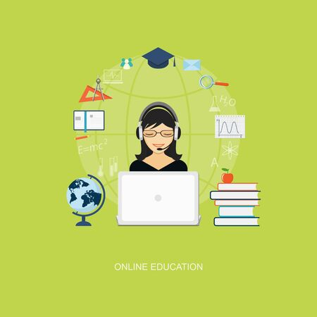 tutoriels: Flat design modern vector illustration concept of education, tutorials, learning with girl, globe, books and laptop - eps10 Illustration