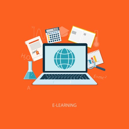 tutorials: Flat design modern vector illustration concept of education, tutorials, learning with laptop - eps10