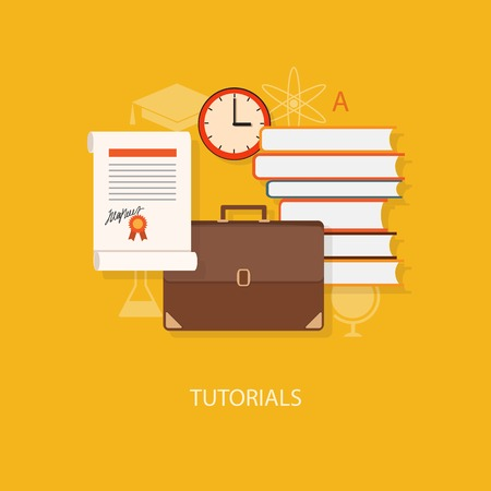 tutorials: Flat design modern vector illustration concept of education, tutorials, learning with books - eps10 Illustration