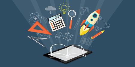 Design plat vecteur moderne illustration concept d'école supérieure, l'université, l'enseignement en ligne, les entreprises à étudier, à la formation, webinaire avec la tablette, fusée, calculatrice, loupe - eps 10 Banque d'images - 43386905