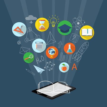 Diseño plano ilustración vectorial moderno concepto de escuela superior, universidad, educación en línea, e-learning, e-libro, el estudio de negocio, formación, seminario con la tableta, reloj, calculadora, casquillo académico, libro, globo, manzana y lupa - EPS 10 Ilustración de vector