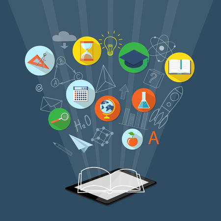 Flat design modern vector illustration concept for  higher school, university, online education, e-learning, e-book, business  studying, training, webinar with tablet,  clock,  calculator, academic cap, book, globe, apple and  loupe - eps 10