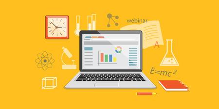 Flat design modern vector illustration  concept of  higher school, university, online education, e-learning, business  studing, training, webinar with clock and laptop  - eps 10