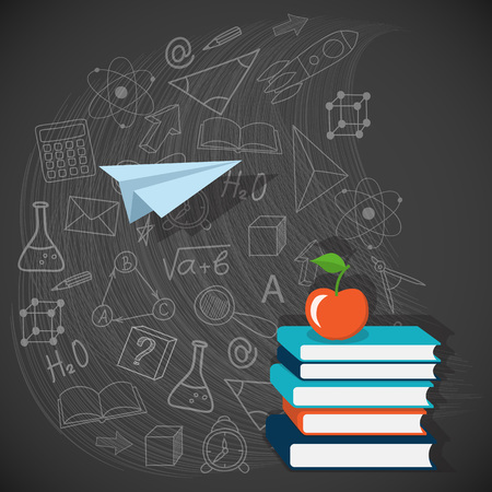 website background: Flat design modern vector illustration  concept of  school, university, education with books and apple - eps10