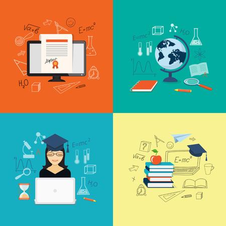 computer education: Flat design modern vector illustration set of concept of school, university, online  training, education, study with books, girl, globe, computer - eps 10