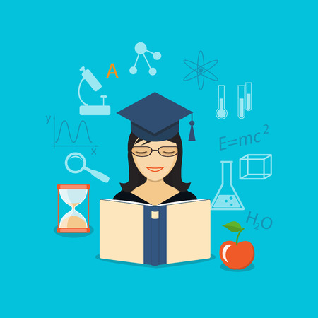 girl apple: Flat design modern vector illustration set of concept of online  training, education, study with book, girl, apple