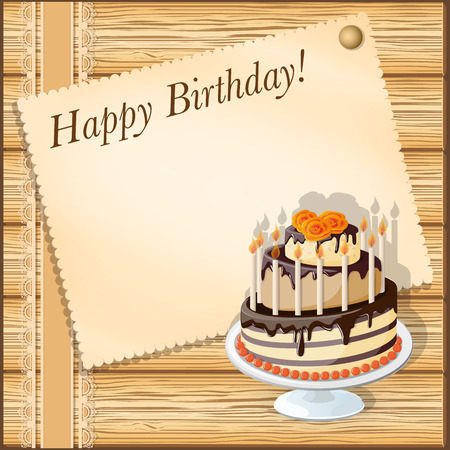 tier: vector illustration birthday card with cake