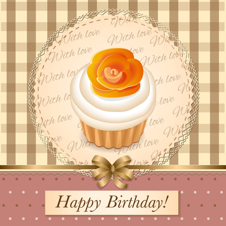cake tier: vector illustration  birthday cake on the vintage background  Illustration