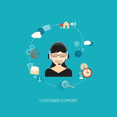 call center woman: Flat design modern vector illustration concept of customer support with girl   Illustration