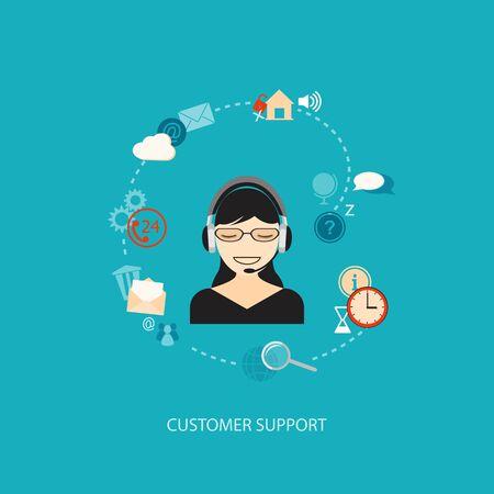 customer support: Flat design modern vector illustration concept of customer support with girl   Illustration