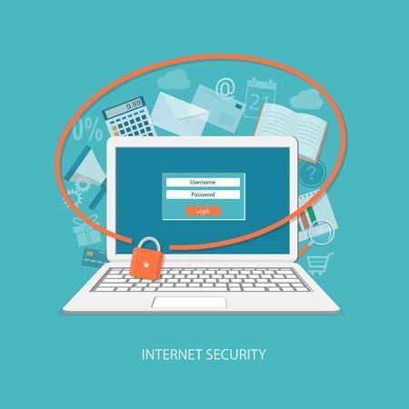 seguridad social: Dise�o plano ilustraci�n vectorial moderno concepto de centro de seguridad con el ordenador port�til