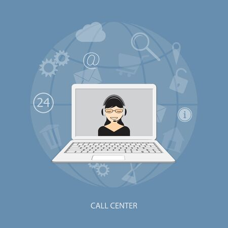 call center woman: Flat design modern vector illustration concept of call center with girl