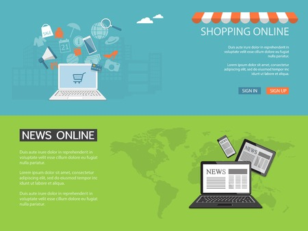 Flat design modern vector illustration concept of news, shopping online, e-mail marketing, management with laptop