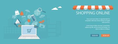 Design plat moderne illustration vectorielle concept de business, le marketing, l'e-mail marketing, boutique en ligne, magasin, marché, avec un ordinateur portable et des éléments Vecteurs