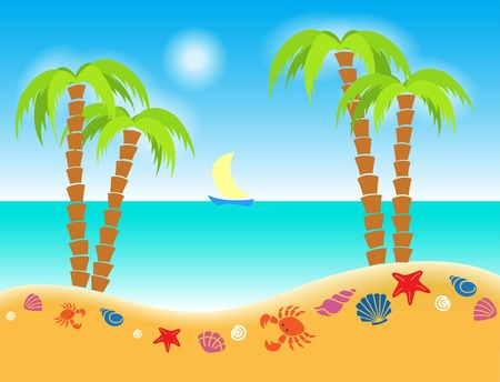 vector illustration cartoon seashore with icons of shells and palms   Illustration