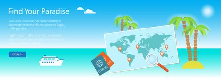 site map: Banner for travel site with map.  Illustration