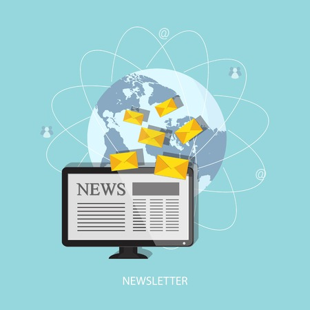 business news: Flat design modern vector illustration concept of  news, newsletter, business news, financial news, business information with computer, letters and globe   Illustration