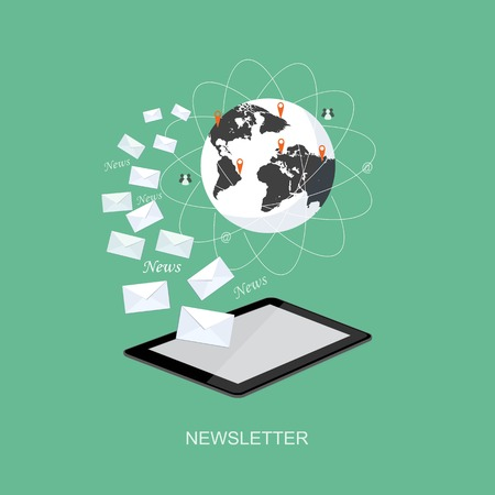news online: Flat design modern vector illustration concept of news online, e-mail marketing, management, analytics with tablet and globe