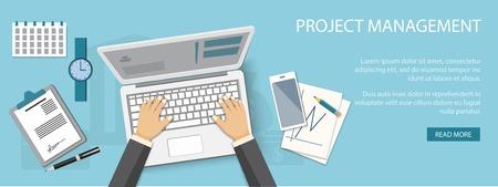 management: Flat design modern vector illustration concept of project management
