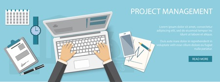 project management: Flat design modern vector illustration concept of project management