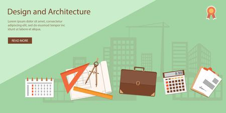 Flat design modern vector illustration concept of architecture and design   Çizim